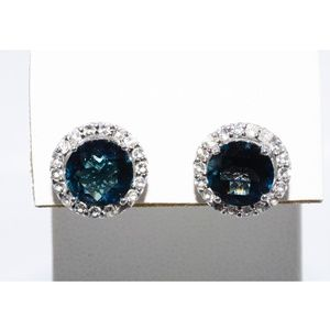 Natural Greenish-Blue & White Topaz .925 Earrings